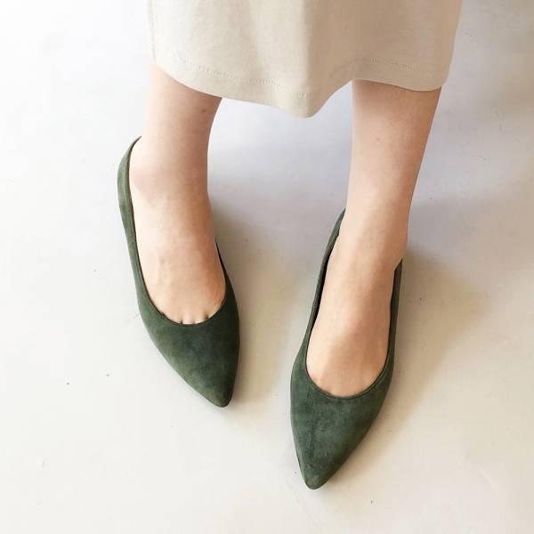 【訂製】高質感羊絨尖頭低跟鞋-墨綠