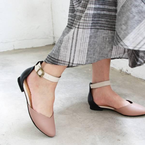 【訂製】寬腳版可穿,配色腳踝帶真皮便鞋-淺粉