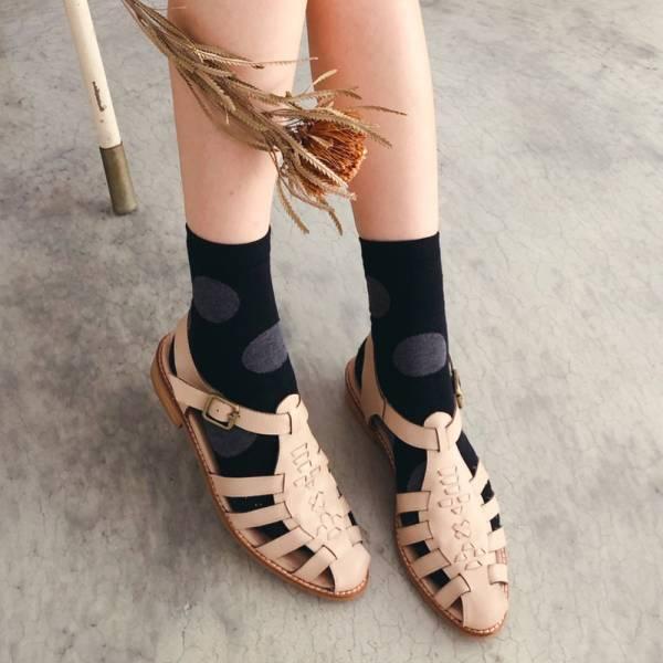【手工訂製】真皮手工編織涼鞋_米