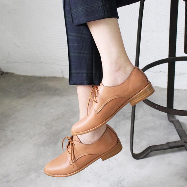 【訂製】經典真皮綁帶德比鞋 - 駝