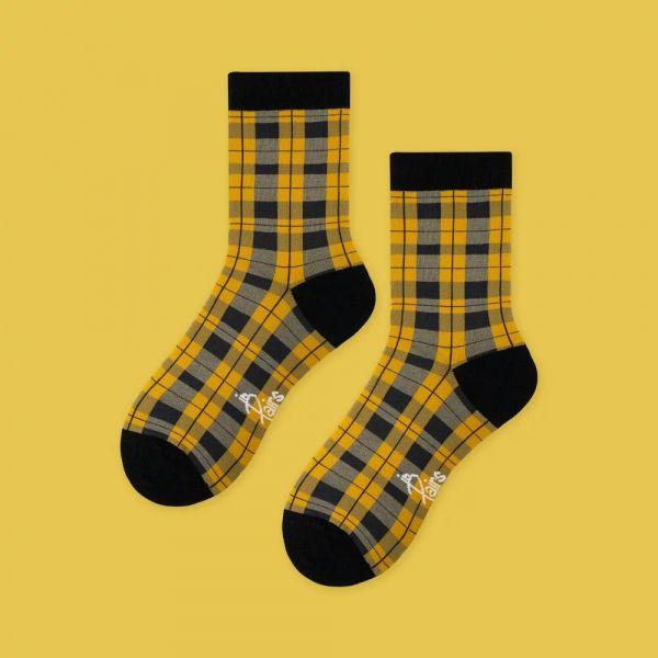 MIT 英倫復古格紋・黃(女襪)