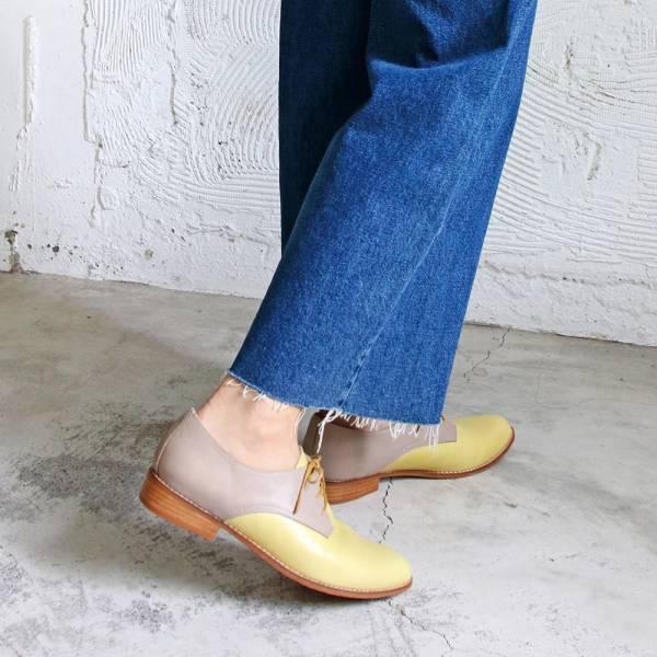 【手工訂製】【人氣色-品味黃灰】3.0再改版款_腳型更修長經典德比鞋