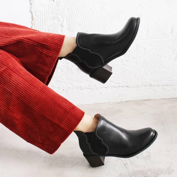 【訂製】葫蘆形鬆緊帶粗跟短靴-黑