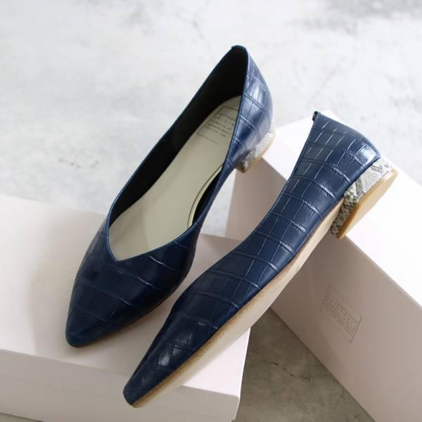 【手工訂製】【人氣色-深藍】ETOILE 日本製尖頭低跟鞋