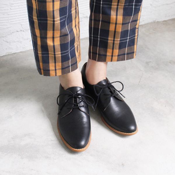 【訂製】經典真皮綁帶德比鞋 - 黑