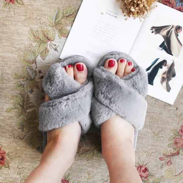 【現貨】暖腳靠他,毛毛室內拖鞋-灰