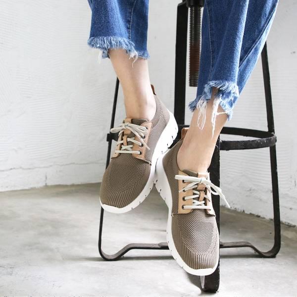 【現貨】透氣飛織 男/女 輕量拼接休閒鞋-奶茶