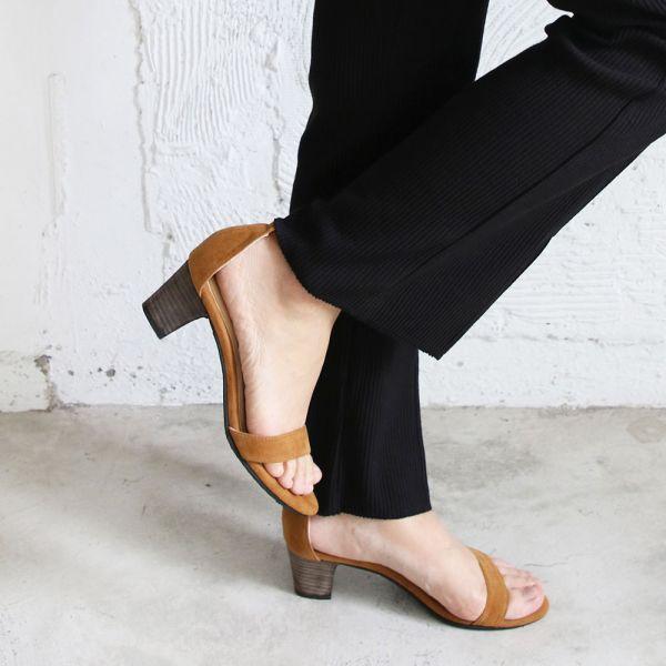 【手工訂製】安定鞋跟細一字帶中跟鞋_駝