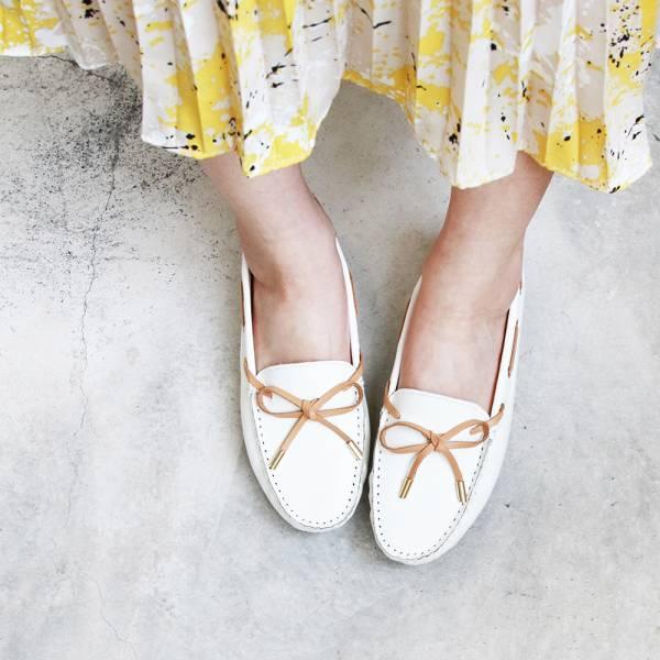 【現貨】蝴蝶結樂福休閒鞋-白