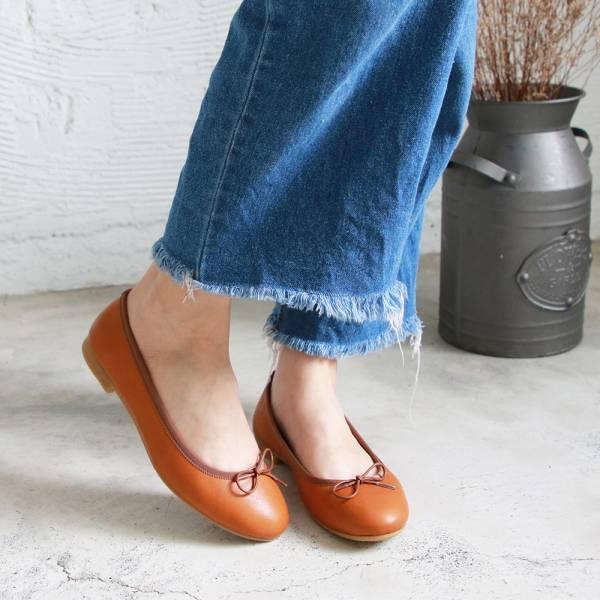 預購【日本製】Recipe圓頭真皮芭蕾舞鞋-駝