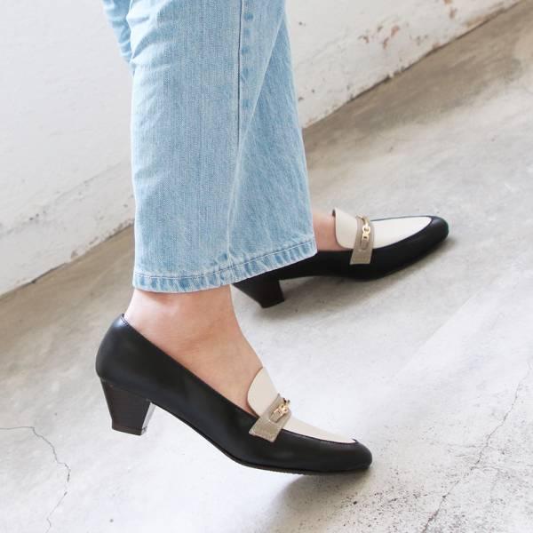【訂製】飾扣真皮樂福跟鞋-黑x白