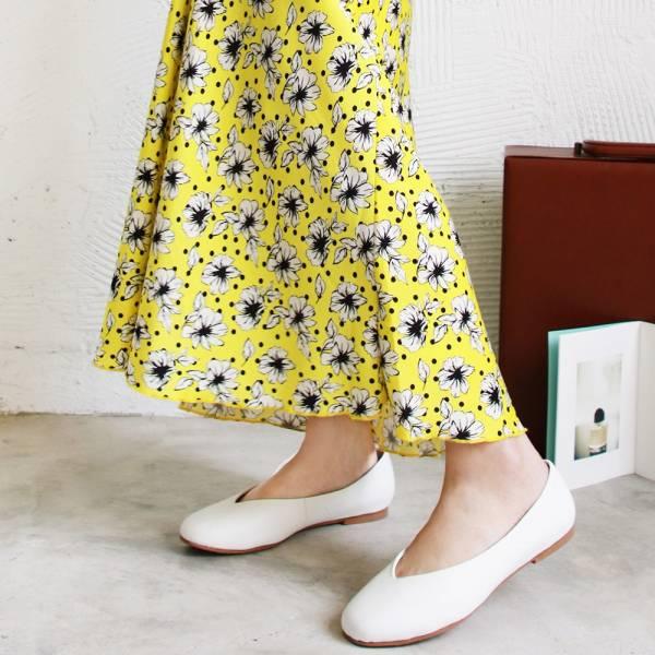 【訂製】小方頭素面綿羊皮平底鞋-白