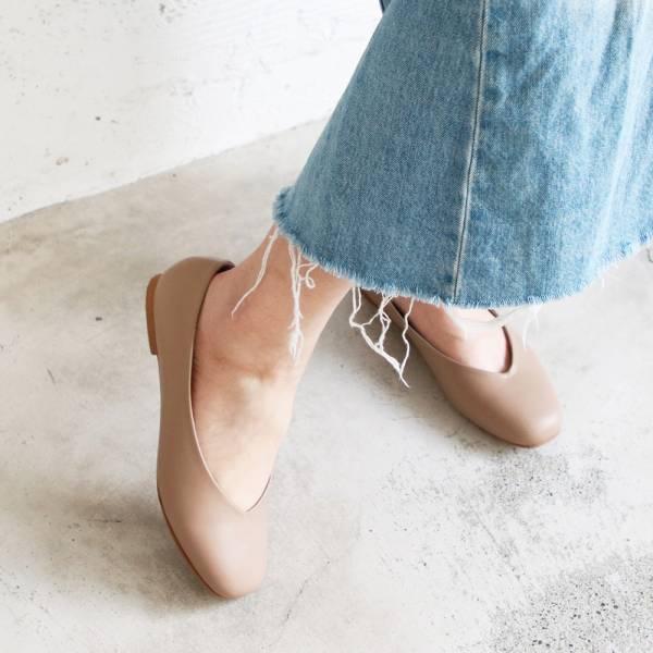 【手工訂製】小方頭素面綿羊皮平底鞋_裸粉