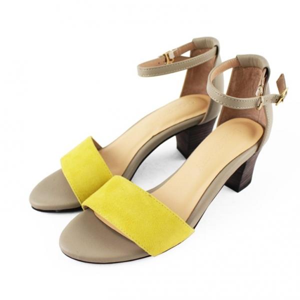 【訂製】春夏必備簡約一字設計中跟涼鞋 - 黃