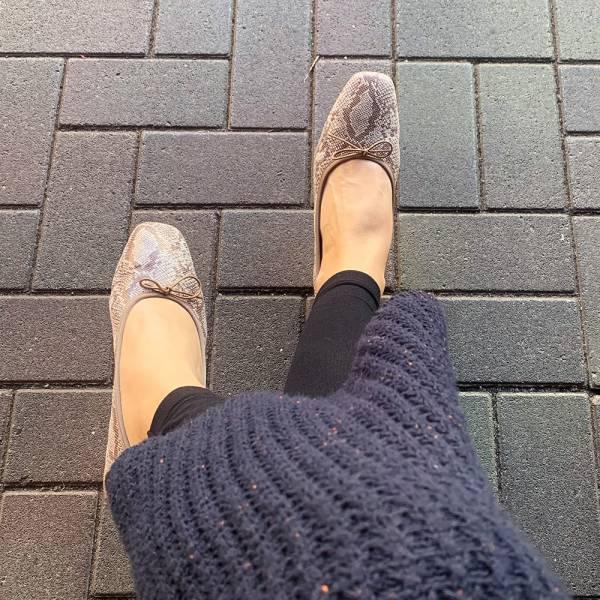 【預購】日本製_Recipe方頭真皮芭蕾舞鞋_蛇紋
