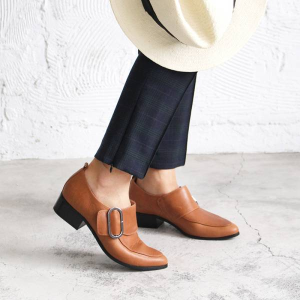 【訂製】橢圓扣個性俐落踝靴 - 駝