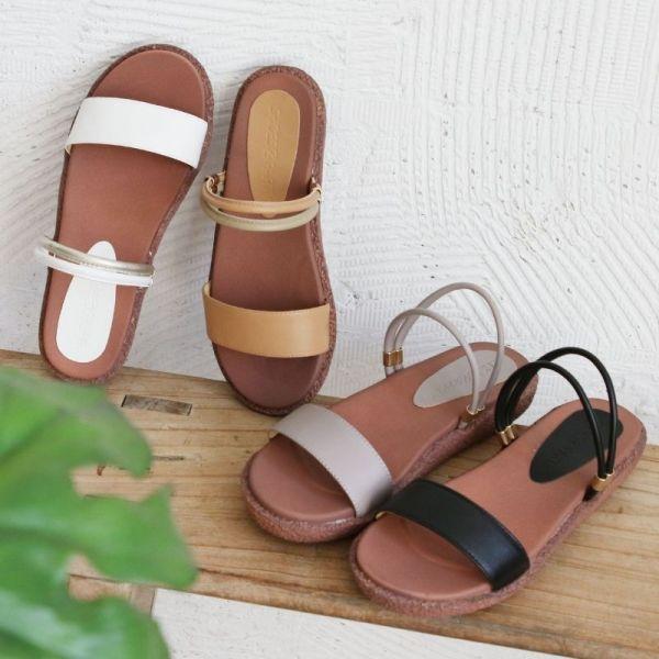 【手工訂製】一字帶兩穿漢堡底涼拖鞋-莫蘭迪紫