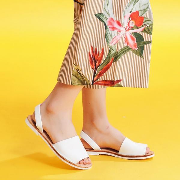 【訂製】二代西班牙風全皮底涼鞋-白
