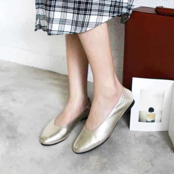 【訂製】2穿之腳變小了,復古深口軟羊皮便鞋-淺金