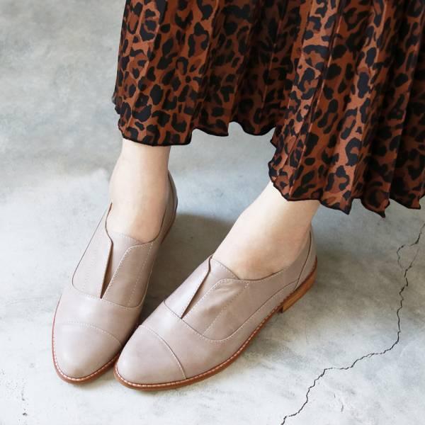 【現貨】外尖內圓簡約復古真皮紳士鞋-淺灰