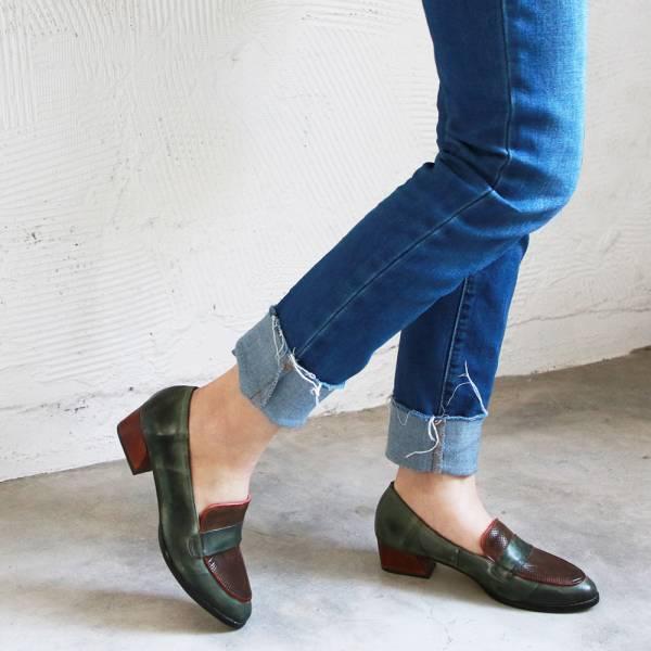【限量現貨】世界系列ˍ造型鞋跟雙色打蠟皮感樂福鞋
