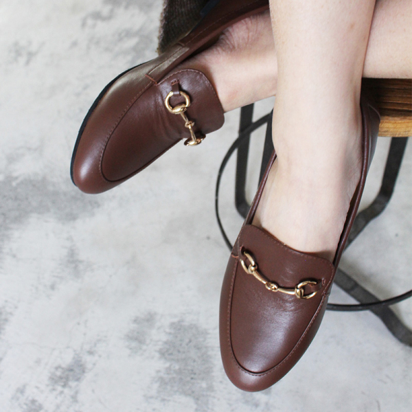 【訂製】真皮鍊條樂福鞋-棕