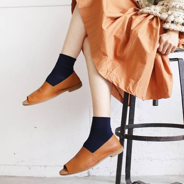 【現貨】世界系列_日本製Recipe魚口設計真皮便鞋_駝