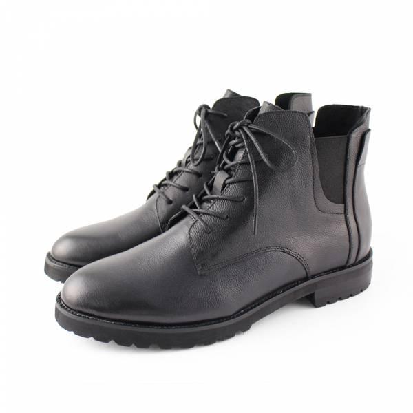 【現貨】一套就走,假綁帶真皮短靴-黑