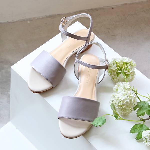 【手工訂製】小腳效果真皮涼鞋_莫蘭迪紫
