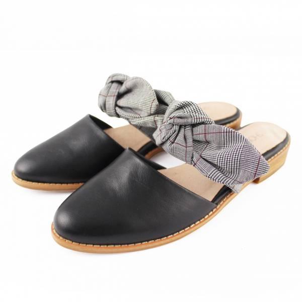 【訂製】異素材蝴蝶穆勒鞋 - 黑