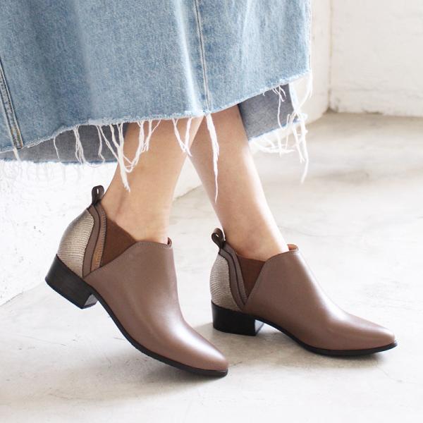 【手工訂製】多重拼接真皮個性踝靴_可可棕