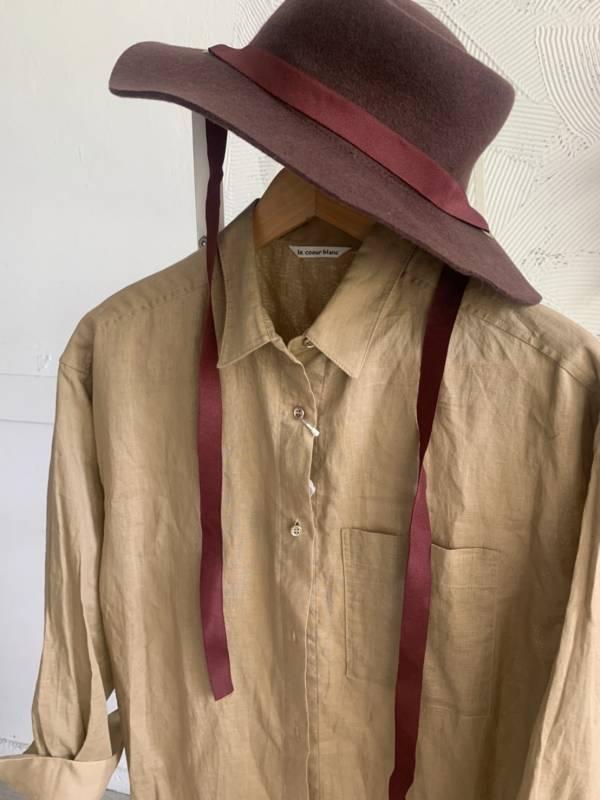 輕薄棉麻長版襯衫洋裝(現貨)