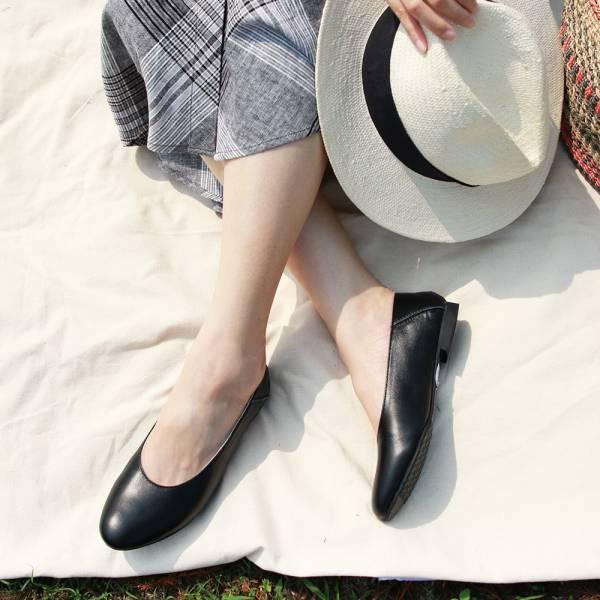 【訂製】2穿之腳變小了,復古深口軟羊皮便鞋-黑