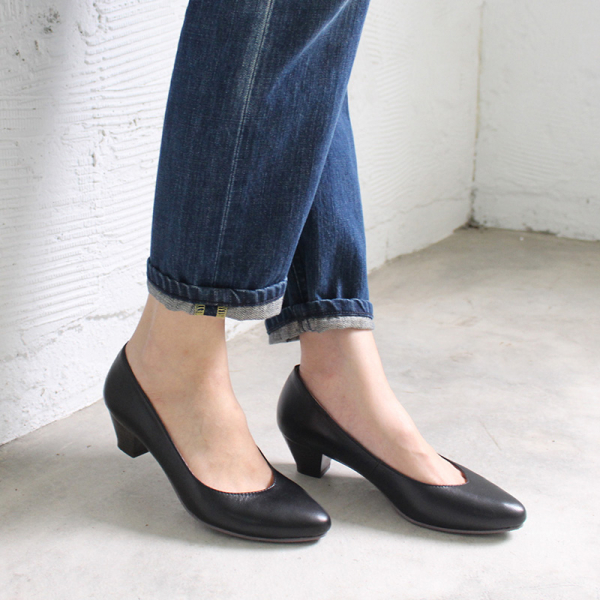 【訂製】安定感十足真皮尖頭中跟鞋 - 黑