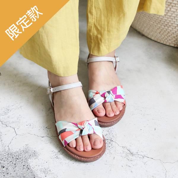 【高雄快閃_優惠價現貨】Simple+蝴蝶結扭結漢堡底涼鞋_淺灰