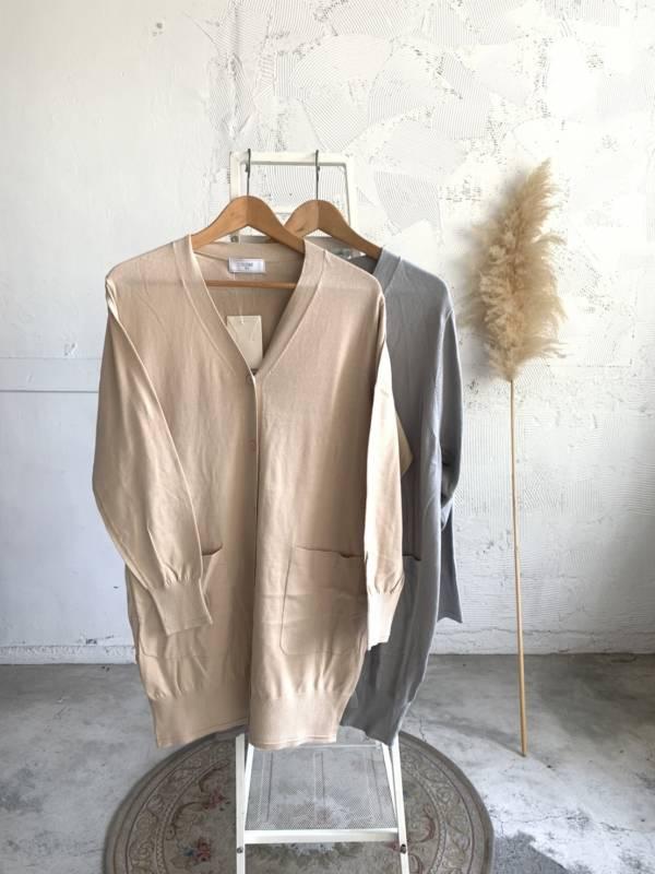 義大利棉長版柔軟薄針織外套(現+預)