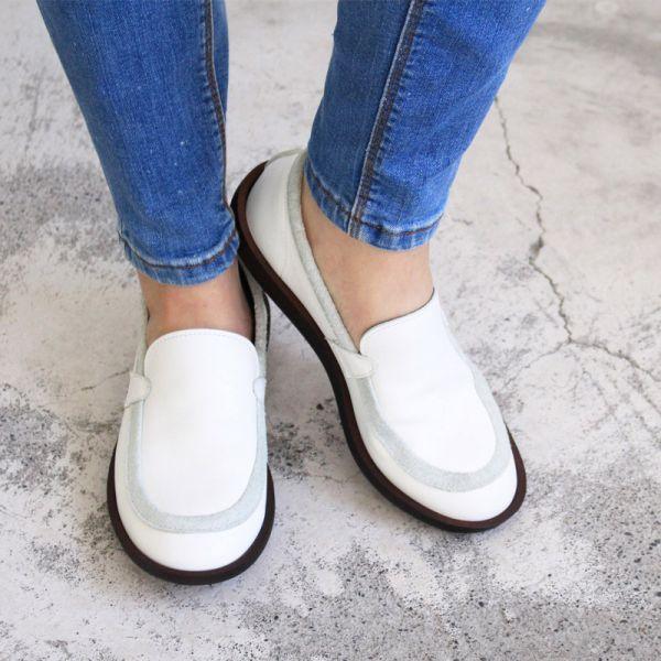 最後一雙【日本製】D'knot柔軟真皮輕量便鞋-白M
