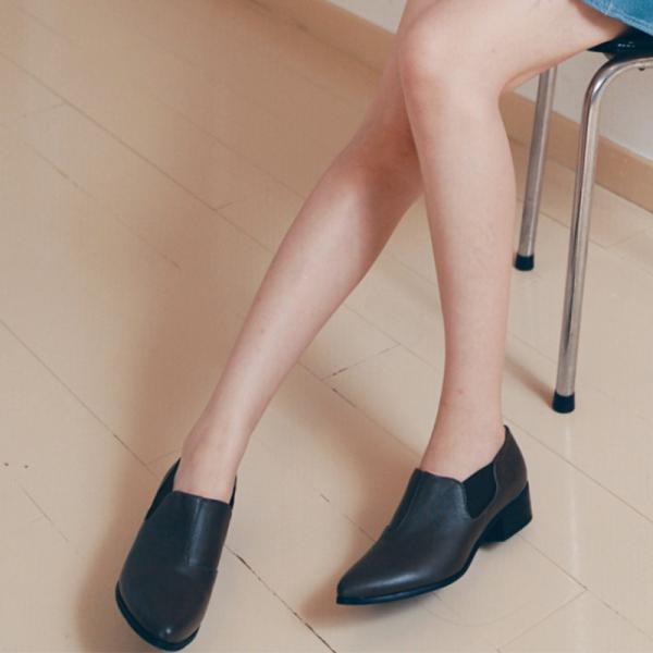 【訂製】尖頭側鬆緊鞋 - 黑