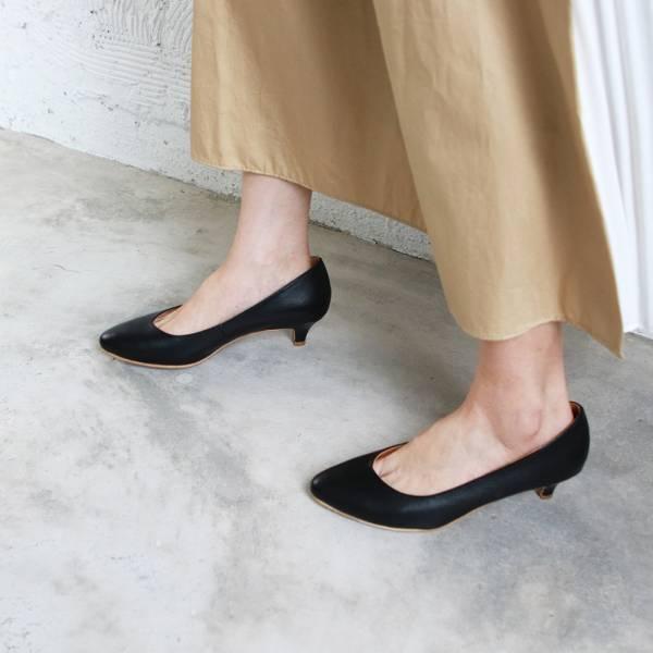 【訂製】大人的素色真皮細跟鞋-黑
