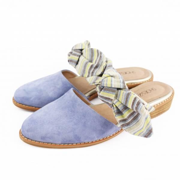 【訂製】異素材蝴蝶穆勒鞋 - 藍紫
