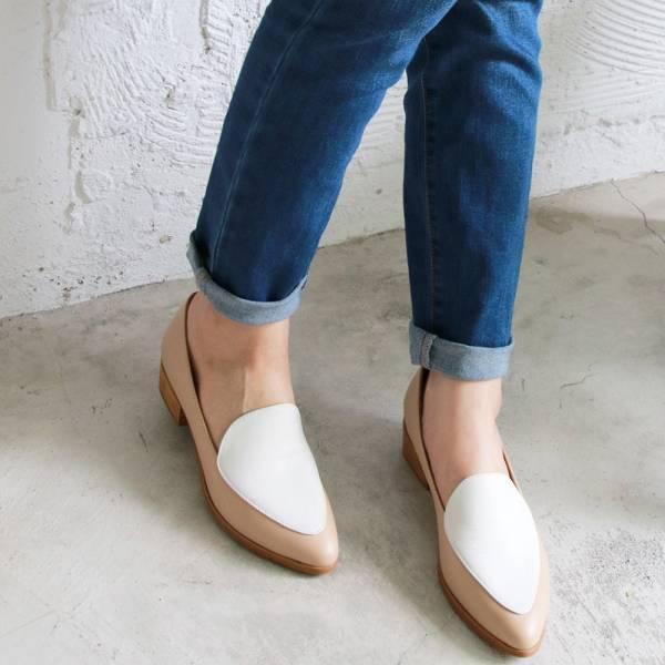 【現貨】真皮配色復古爵士鞋-米白