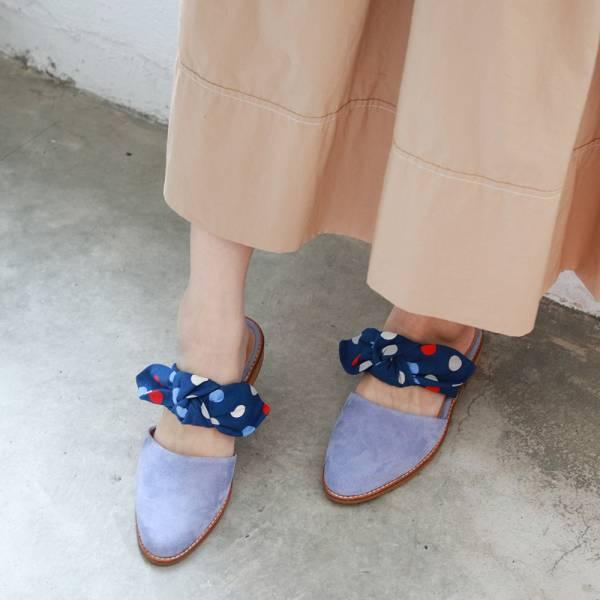【訂製】異素材蝴蝶結穆勒鞋-藍點