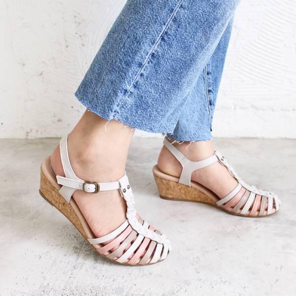 【訂製】真皮手工編織楔型涼鞋 - 淺灰