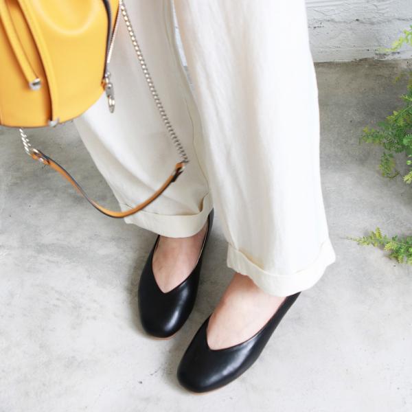 【訂製】小方頭素面綿羊皮平底鞋-黑