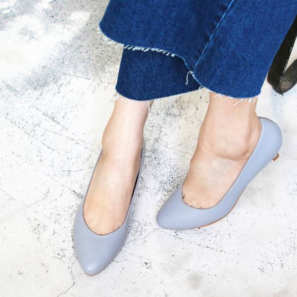 【訂製】大人的素色真皮細跟鞋-莫蘭迪