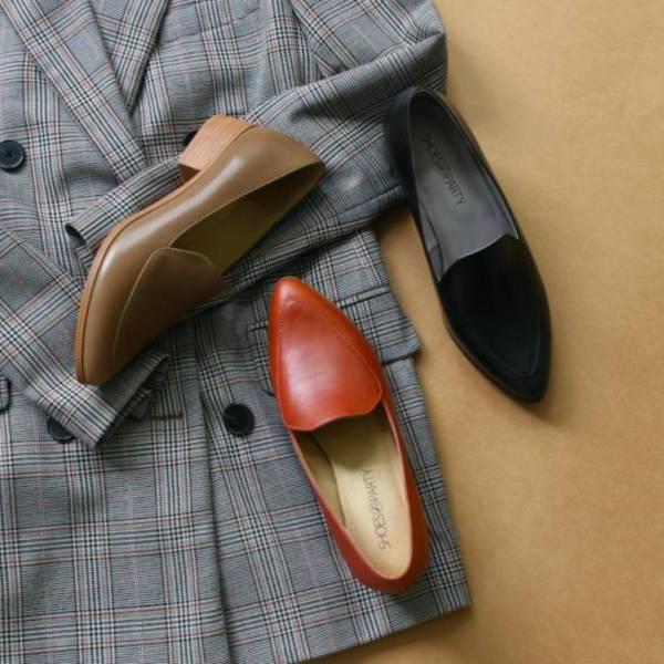 【手工訂製】外尖內圓素面俐落樂福鞋