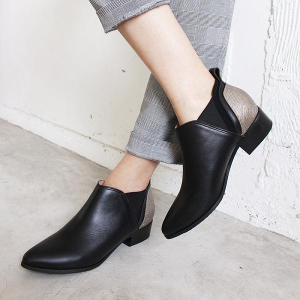 【手工訂製】多重拼接真皮個性踝靴_黑
