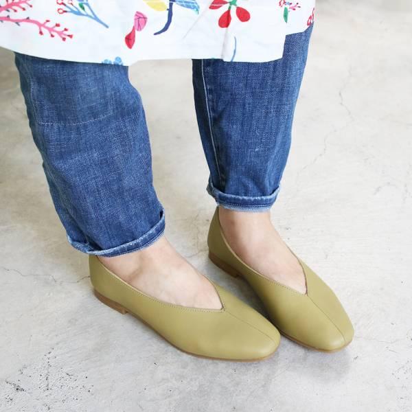 【預購】世界系列_日本製Recipe真皮V口造型便鞋_酪梨綠