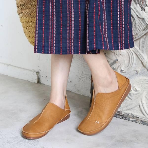 世界系列_日本製D'knot柔軟植鞣皮2穿精靈V口休閒鞋-駝