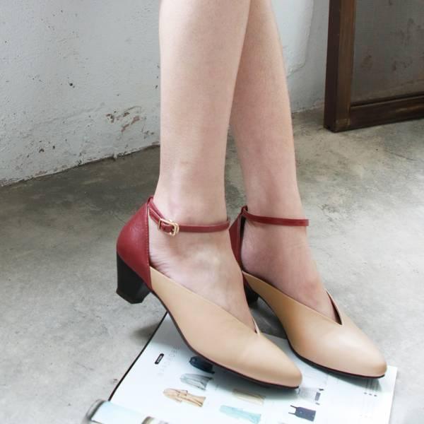【訂製】小腳效果,個性V口繫帶跟鞋-紅